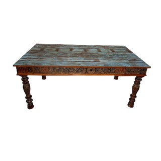 Indian Reclaimed Carved Wood Dining Table