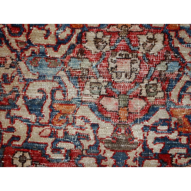 Blue 1900s, Handmade Antique Persian Mahal Distressed Rug 4.6' X 6.5' For Sale - Image 8 of 10