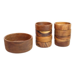 1960's Mid-Century Hand-Carved South American Monkey Pod Wood Serving Bowls - Set of 9 For Sale