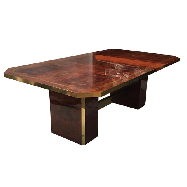 Metal Cedar Burl and Brass Dining Table by Jean Claude Mahey For Sale - Image 7 of 7