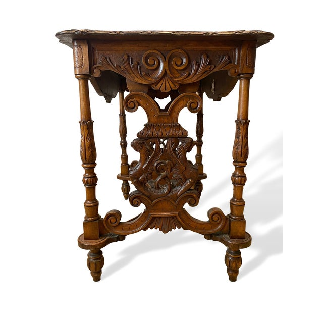Wood 1880s Italian Hand Carved Walnut Center Table For Sale - Image 7 of 9