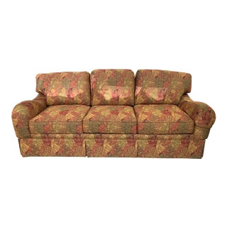 Fall Leaf Pattern Fabric Queen Sleeper Sofa For Sale