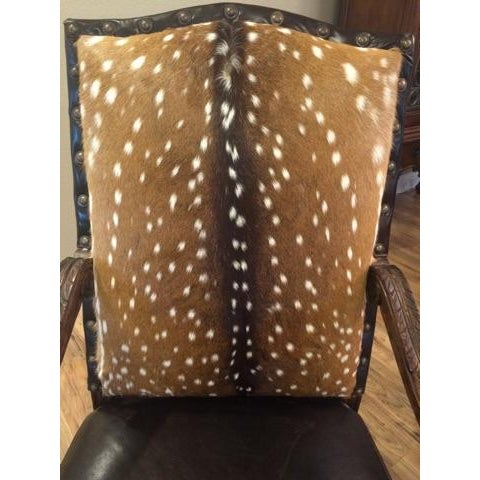 Axis Deer Hide & Leather Armchairs - Pair For Sale In Dallas - Image 6 of 9