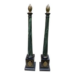 Faux Malachite Obelisks - a Pair For Sale