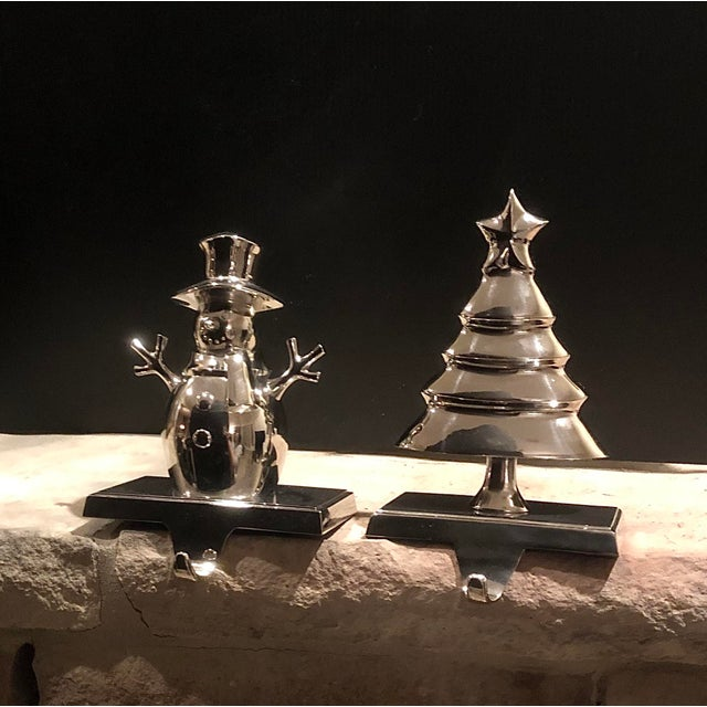 Silver Vintage Christmas Tree and Snowman Stocking Hangers Silver Hooks - Set of 2 For Sale - Image 8 of 8