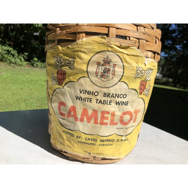 Vintage Wine Bottle in Handled Wicker Basket With Label For Sale In Providence - Image 6 of 7