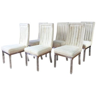 Charles Hollis Jones Lucite Leg Dining Chairs - Set of 4