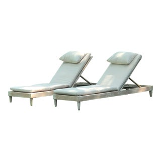 Sutherland Reeded Teak Chaise Lounges - Set of 6 For Sale
