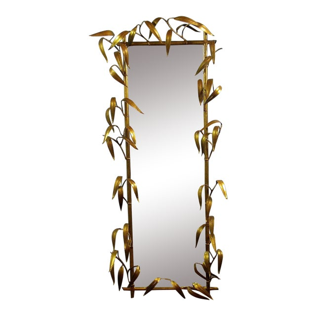 Vintage Metal Bamboo Leaf Mirror For Sale