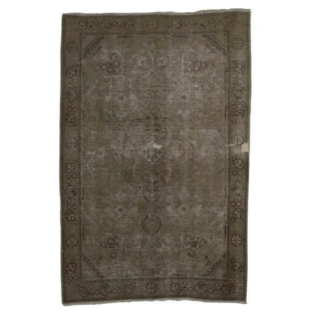 Vintage Mid-Century Hand-Knotted Wool Persian Tabriz Rug - 3′ × 4′8″ For Sale