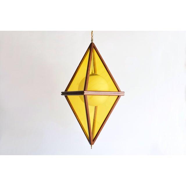 Mid-Century Teak & Yellow Pendant Light - Image 3 of 11