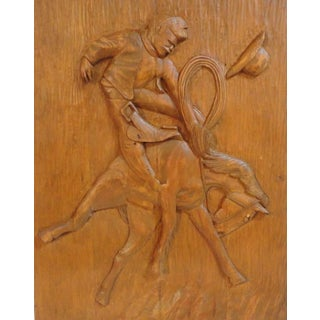 WPA Artist Wood Carving of The Bucking Bronco & Cowboy For Sale