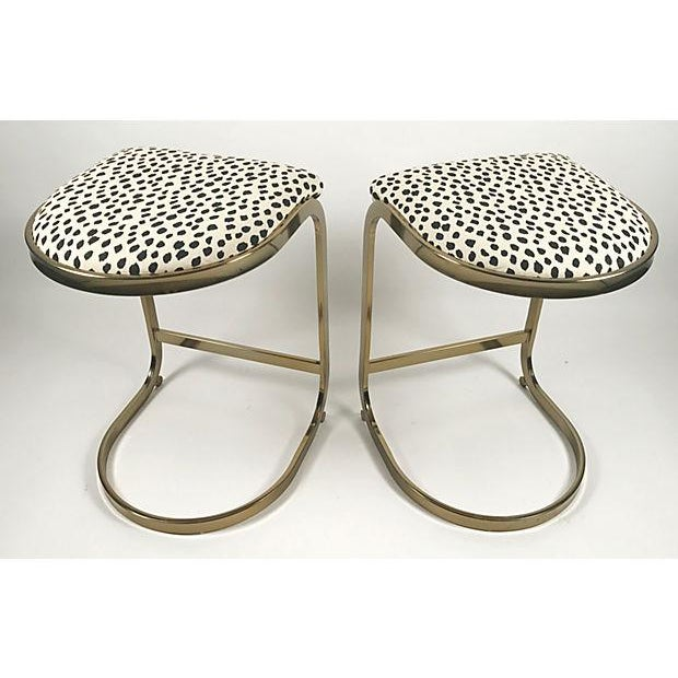 Milo Baughman Style Brass Cantilever Stools - A Pair For Sale - Image 10 of 10