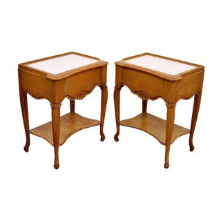 Vintage French Country Leather Top Nightstands - A Pair