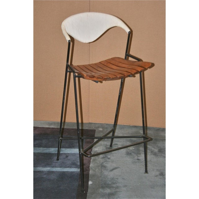 Vintage Arthur Umanoff Wrought Iron Barstools - Set of 5 - Image 8 of 11