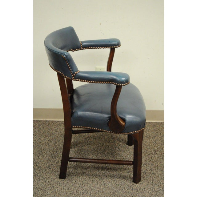 Vintage Ephraim Marsh Chippendale Blue Leather & Mahogany Library Office Arm Chair - Image 4 of 11