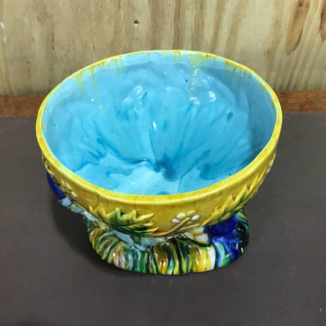 "Mid 20th Century Majolica George Jones Style ""Punch"" Bowls - A Pair For Sale - Image 5 of 10"
