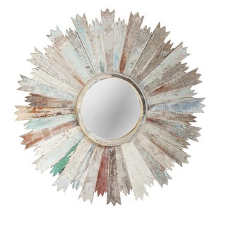 Reclaimed Wood Sunburst Mirror For Sale