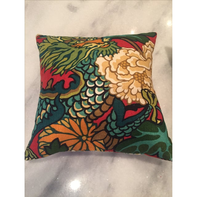 Schumacher Chiang Mai Dragon in Red Pillows - Pair For Sale - Image 9 of 11