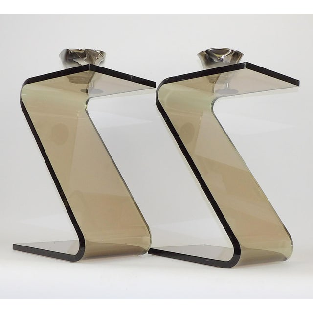 """Shlomi Haziza Acrylic Bent Lexan Lucite """"Z"""" End Tables / Nightstands - a Pair For Sale - Image 12 of 12"""