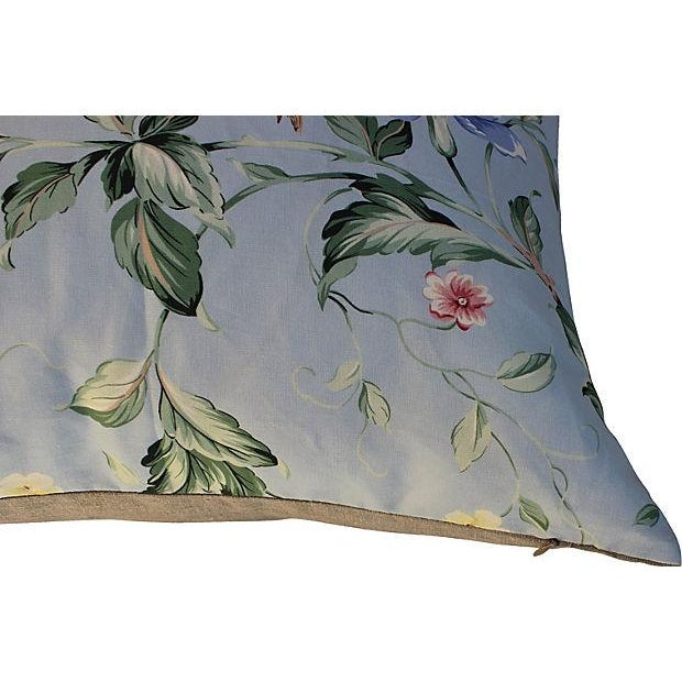 "Pair of custom pillows made with a Scalamandre ""Orienteaux"" textile with floral and bird design. Backed in linen with..."