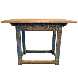 18th Century Swedish Painted Pine Farm Table For Sale