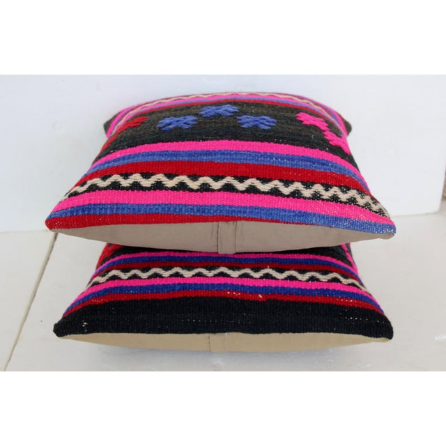 Turkish Kilim Cushions - A Pair For Sale - Image 4 of 4