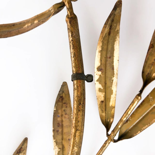 Gold Vintage Italian Gilded Tole Leaves Wall Sculpture For Sale - Image 8 of 9