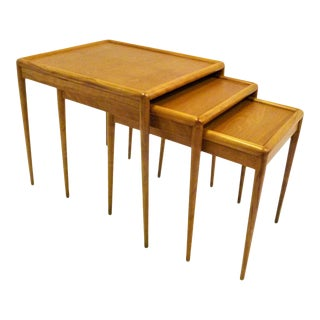 Robsjohn Gibbings Walnut Nesting Tables for Widdicomb-Set of 3 For Sale