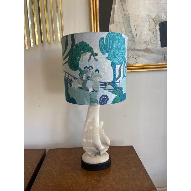 Vintage Alabaster Lamp With Schumacher Shade For Sale - Image 9 of 9