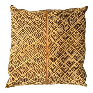 "African Kuba Raffia Cloth Pillow 24"" Square For Sale"