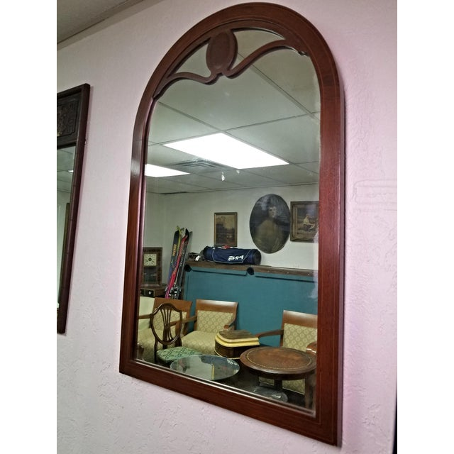Mid 20th Century Line Inlaid Arched Neoclassical Mahogany Wall Mirror For Sale - Image 5 of 8