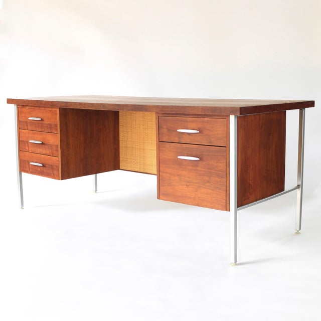 Danish Modern 1950s Mid Century Modern Florence Knoll Style Walnut and Cane Desk For Sale - Image 3 of 13