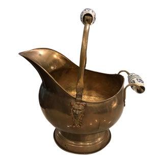 Antique Brass Delft Handle Scuttle
