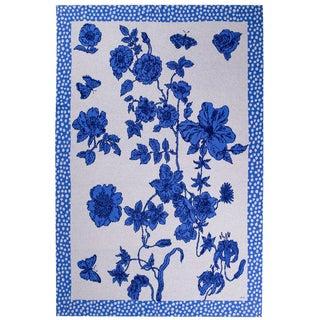 Je Suis Ta Fleur Blue Cashmere Blanket, 51' X 71' For Sale