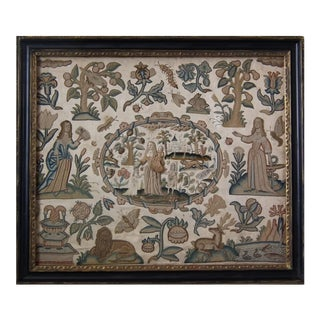 Antique Stumpwork Embroidery of Faith, Hope & Charity For Sale