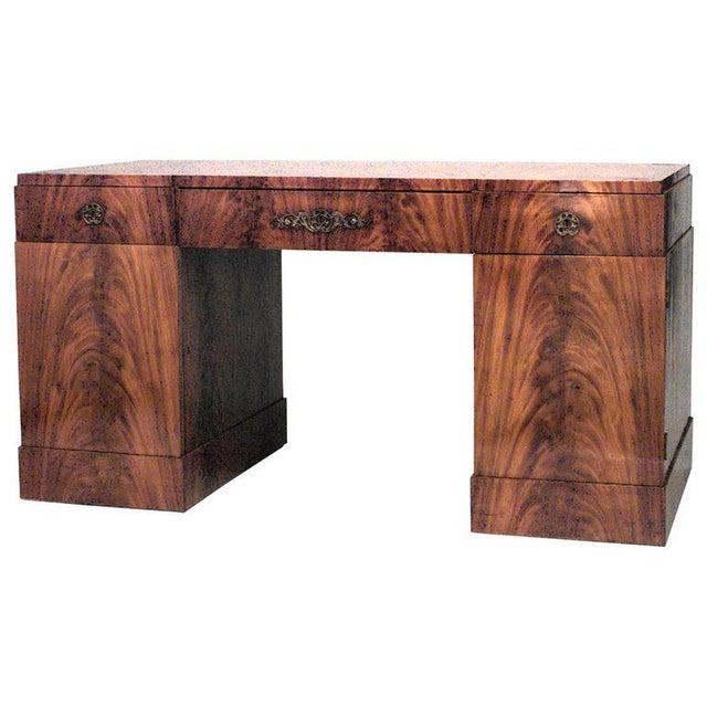 19th Century German Biedermeier Mahogany Kneehole Desk For Sale - Image 5 of 6