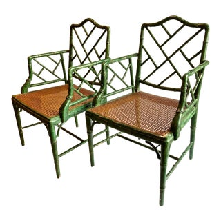 Chinese Chippendale Faux Bamboo Chairs, Set of 6 For Sale
