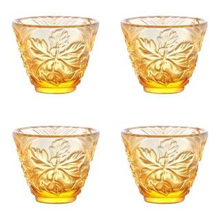 """To Drink Amongst Flowers"" Crystal Sake Glasses in Light Amber - Set of 4"