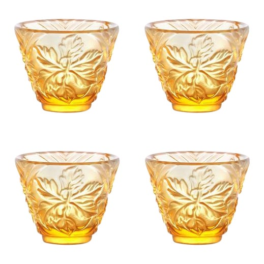 """To Drink Amongst Flowers"" Crystal Sake Glasses in Light Amber - Set of 4 For Sale"