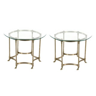 1970s Mid-Century Modern LabargeHexagonal Glass and Brass Side Tables - a Pair For Sale