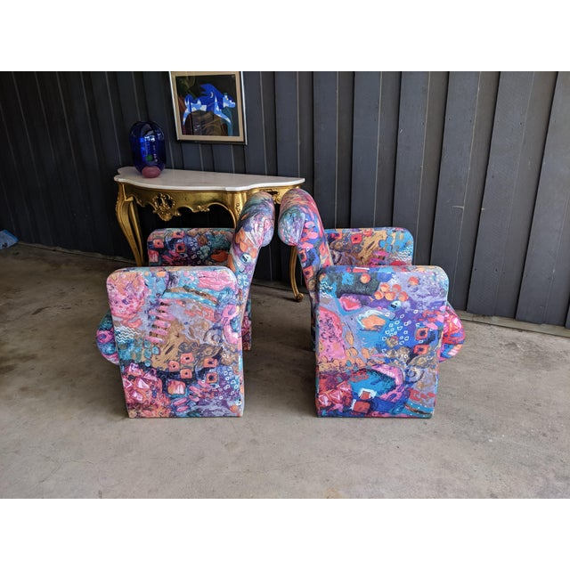 Textile 1980s Contemporary Colorful Modernist Chairs, a Pair For Sale - Image 7 of 13