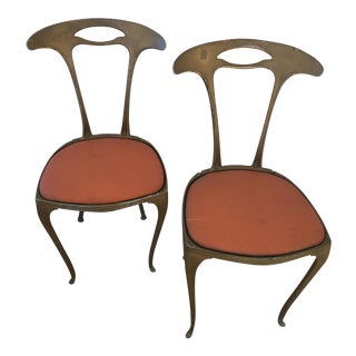 Palladio Italian Surrealist Gilt Chairs - A Pair