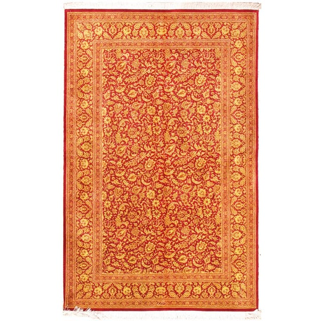"""Contemporary Pasargad Qum Collection Silk Rug- 4' 3"""" X 6' 8"""" For Sale - Image 3 of 3"""