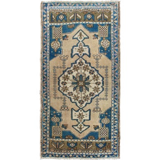 1940s Vintage Turkish Oushak Rug - 1′11″ × 4′ For Sale