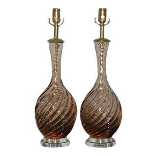 Marbro Murano Glass Lamps Peach For Sale