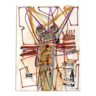 Original Vintage Wayne Cunningham Abstract Oil/Drawing/Collage Painting 1990's For Sale