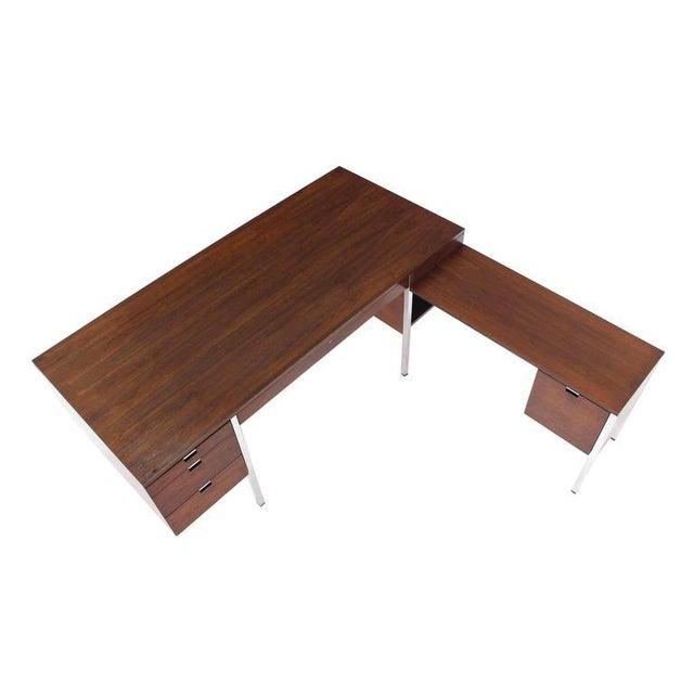 Wood Large Walnut Dunbar Executive Desk with Return For Sale - Image 7 of 11