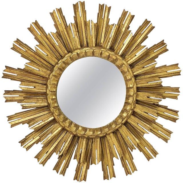 French Gilt Starburst or Sunburst Mirror (Diameter 25) For Sale - Image 9 of 9