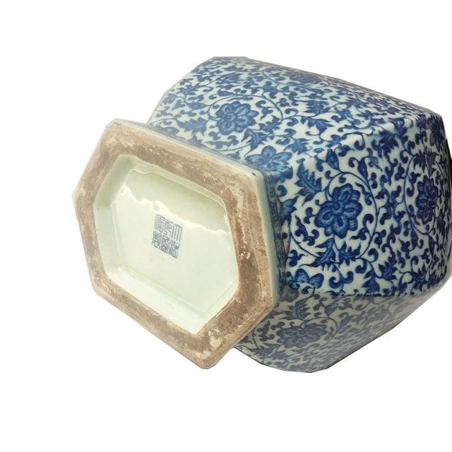 Blue & White Porcelain Hexagon Lotus Flower Vase For Sale In San Francisco - Image 6 of 7